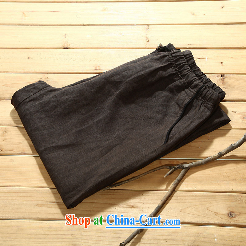 Tibetan silk manuscripts summer 2015 men's cotton the trousers black coffee-colored 156,005 190_XXXL