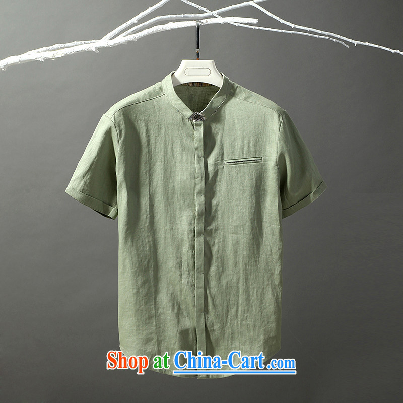 Tibetan swords into plowshares men's summer new linen short sleeve T-shirt, collar trim thin breathable 17,009 green 190_XXXL