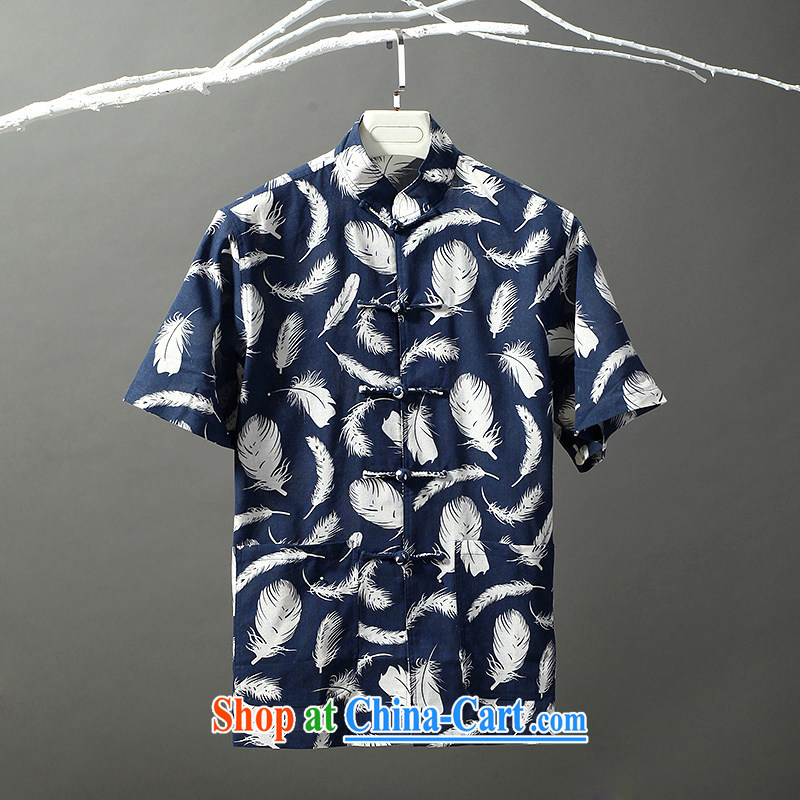 Tibetan swords into plowshares men's summer Chinese cotton the ethnic style Chinese short-sleeved shirt 6010 blue 175/L