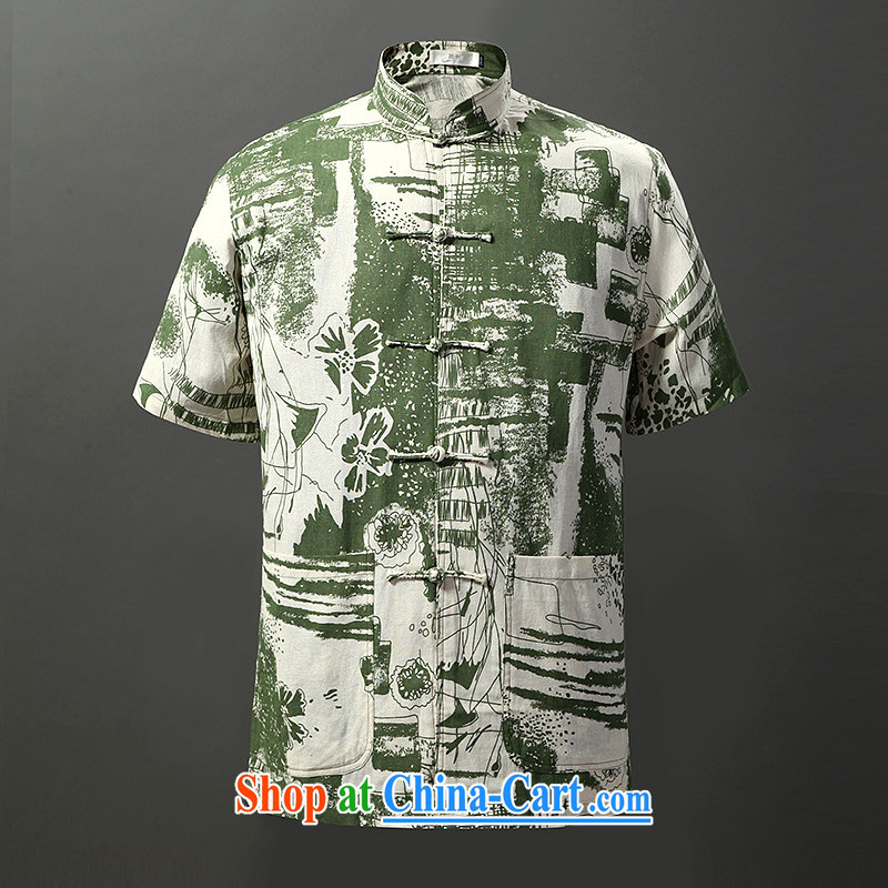 Tibetan swords into plowshares men's summer Chinese cotton the ethnic style Chinese short-sleeved shirt 6013 green 190_XXXL