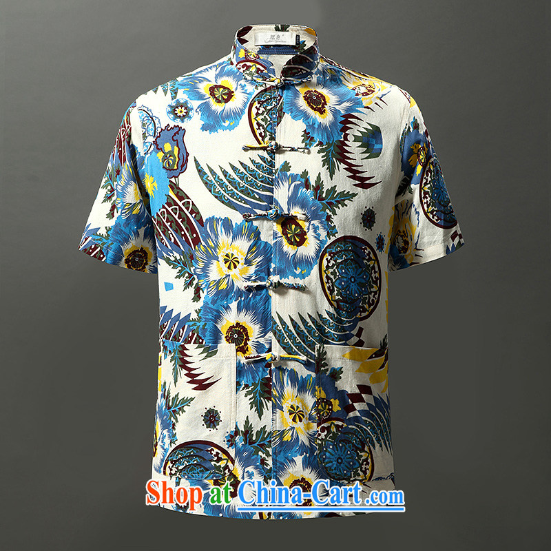 Tibetan swords into plowshares men's summer short-sleeved cotton the stamp leisure Chinese Chinese style Leisure Suit 6011 180_XL
