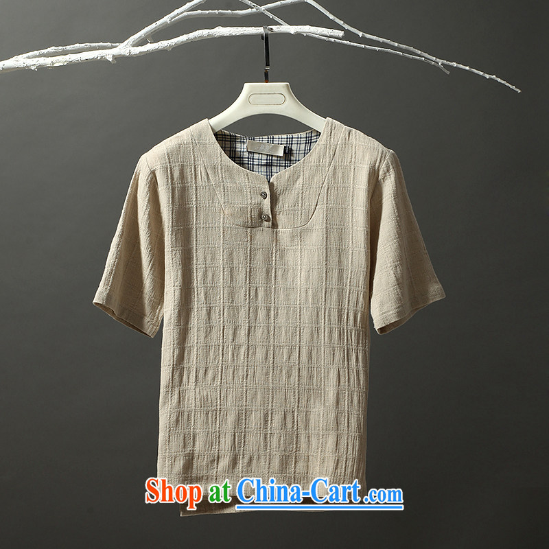 Possession 2015 hatchet men's short-sleeved Chinese style white cotton Ma T pension?17,006 beige 190/XXXL
