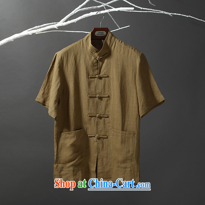 Tibetan swords into plowshares 2015 men's summer the Tang with a short-sleeved shirt ethnic style short-sleeved 6007 green 190_XXXL