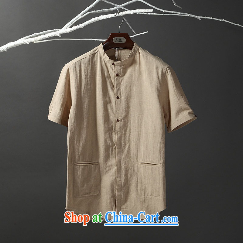 Tibetan silk manuscripts new summer men's short-sleeved linen cotton shirt Lightweight breathable and stylish lounge 6008 Cornhusk yellow 190_XXXL
