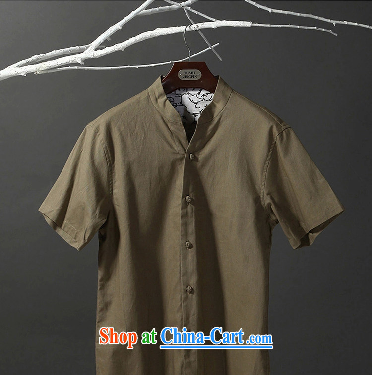 Tibetan swords into plowshares men's summer ethnic style Chinese short-sleeved cotton shirt Yau Ma Tei 053 army green short-sleeve 180/XL pictures, price, brand platters! Elections are good character, the national distribution, so why buy now enjoy more preferential! Health