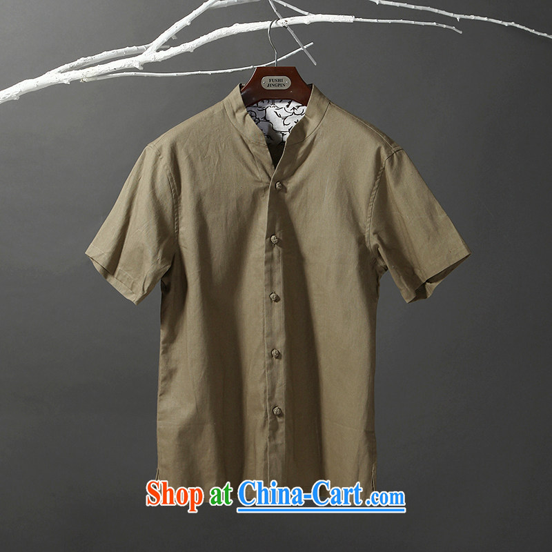Tibetan swords into plowshares men's summer ethnic style Chinese short-sleeved cotton shirt Yau Ma Tei 053 army green short-sleeve 180/XL