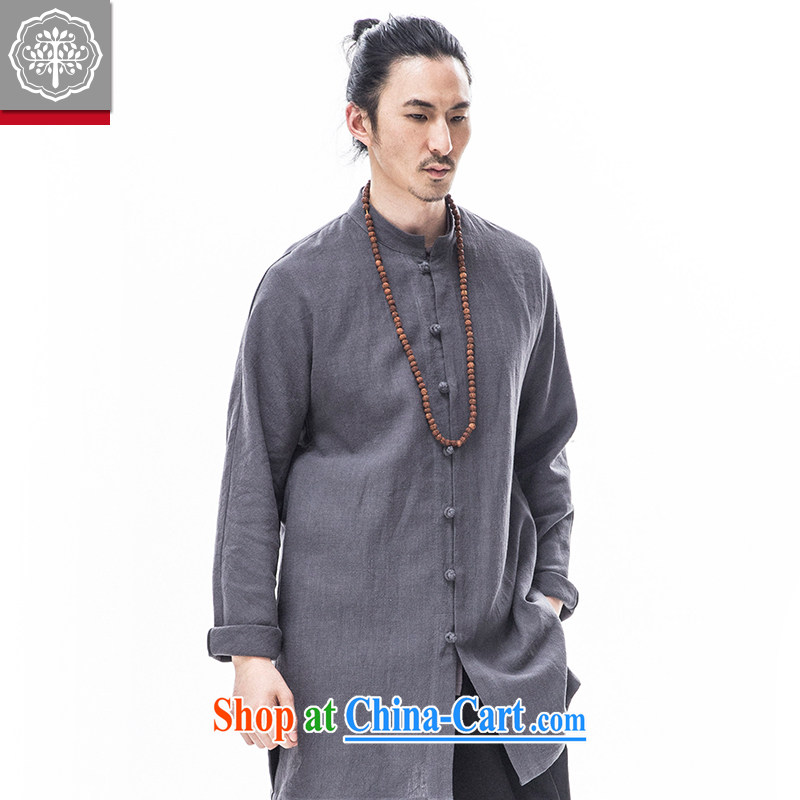 To tree Han-improved long-sleeved jacket cotton Ma Man, Long Tang installed China wind gray 185_XXL