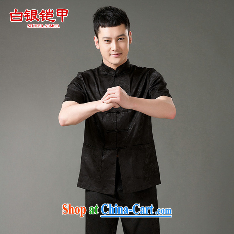 Silver armor Tang is short-sleeved and older Chinese men and men's summer Chinese Embroidery long trousers Kit Han-male black 185