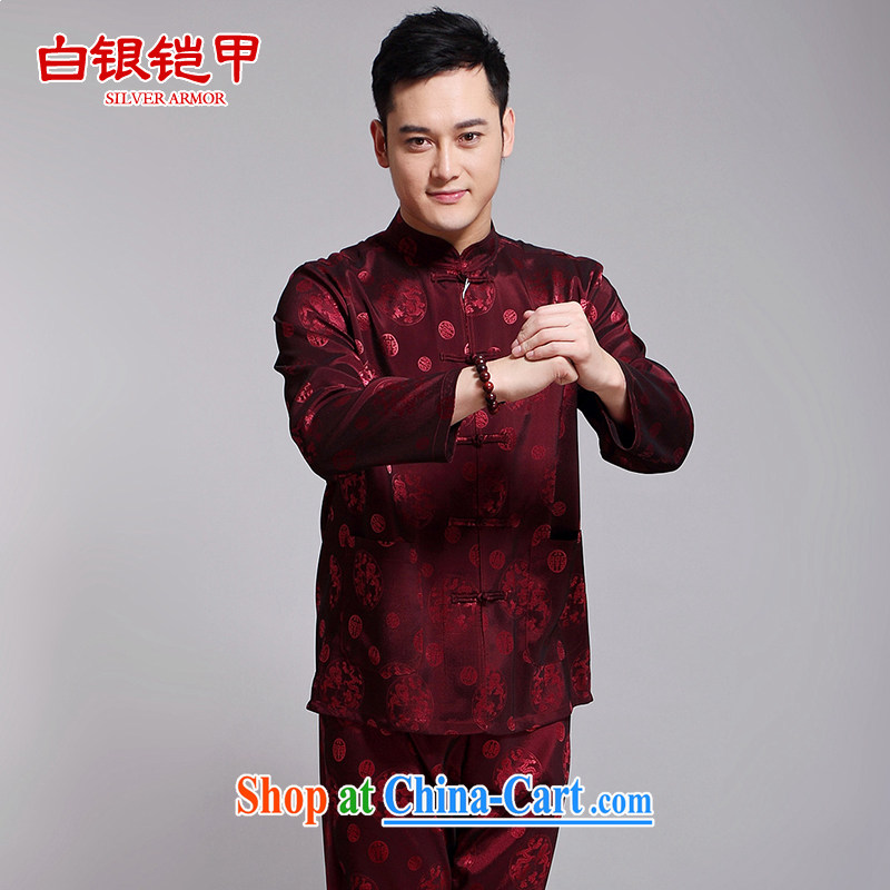 Silver armor Chinese men's summer Chinese male kit, served long-sleeved Chinese wind hand-tie silk, older Chinese men's red 190