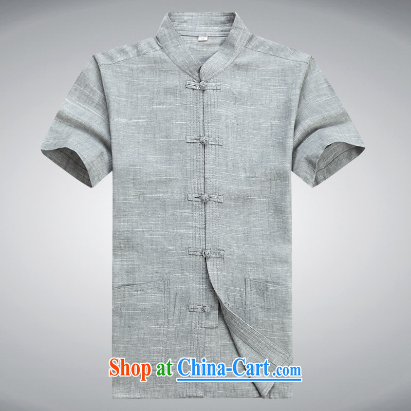 100 brigade Bailv summer stylish thin disk for leisure short-sleeve and collar comfort T-shirt light gray XXXL