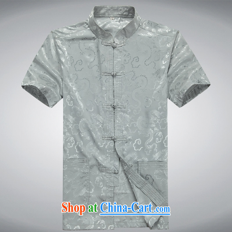 100 brigade Bailv summer stylish thin disk for leisure short-sleeve and collar Comfort Kit light gray XXXL