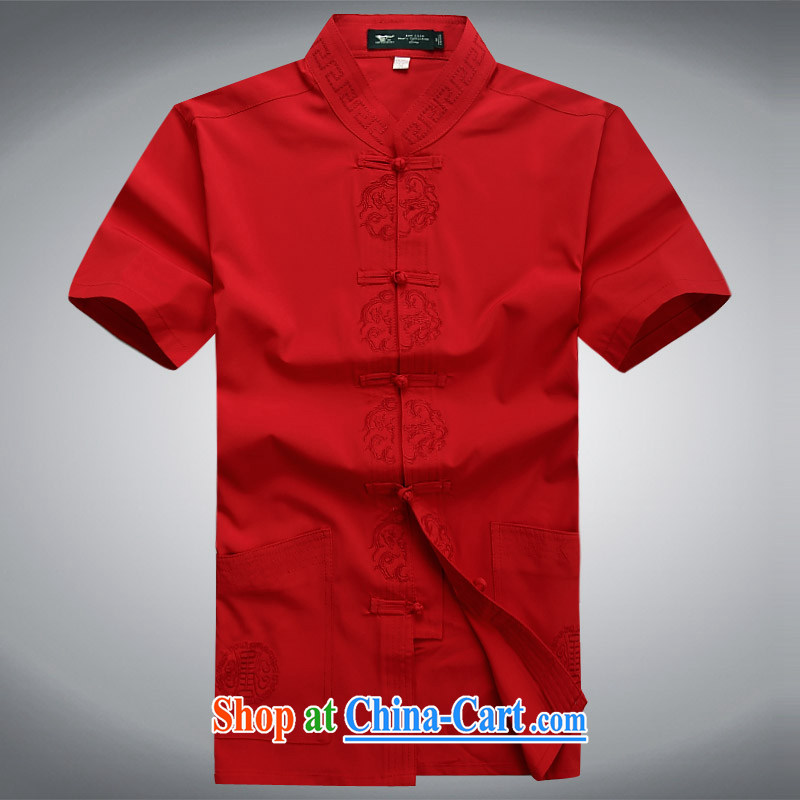 100 brigade Bailv summer stylish thin disk for leisure short-sleeve and collar Comfort Kit red XXXL