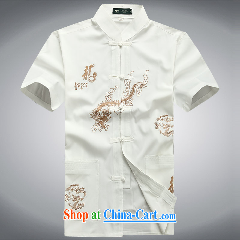 100 brigade BaiLv summer stylish thin, for comfortable short-sleeve-snap Leisure package white XXXL