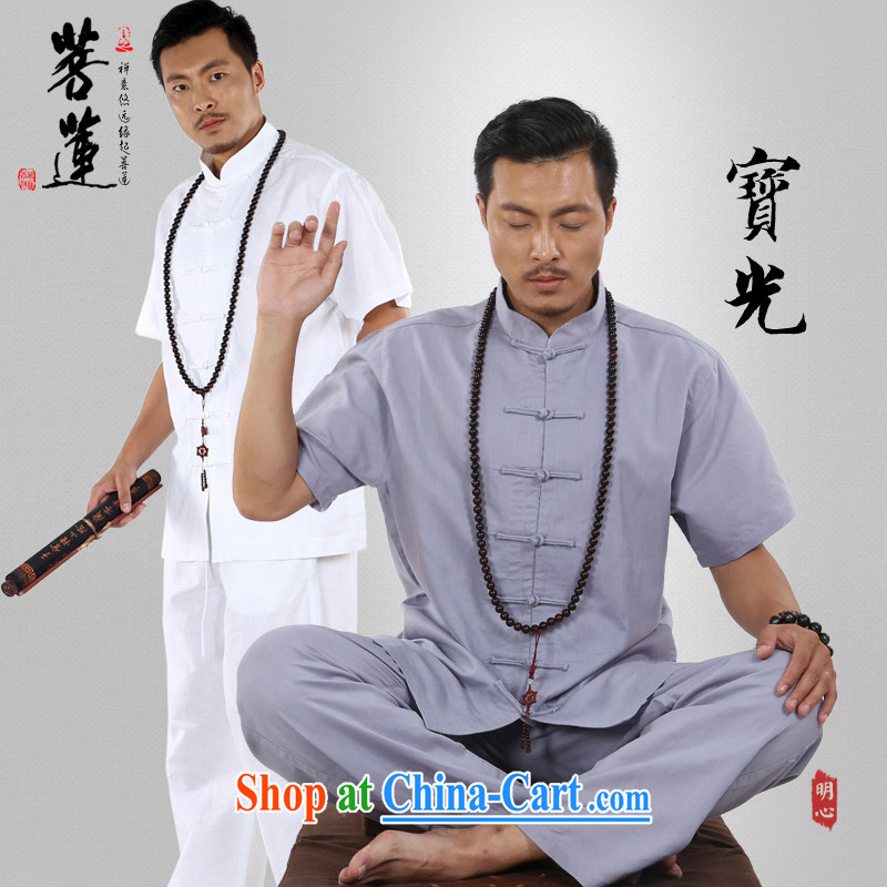 Restrictive Lin linen cotton Ma men and women, summer fall short-sleeved thin China wind meditation Nepal yoga meditation Tai Chi uniforms, gray XL