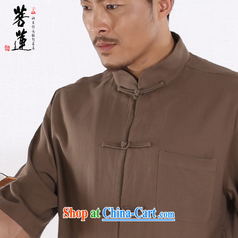 Restrictive Lin cotton the Zen service linen Cotton Men, short-sleeved shirts Zen cynosure leisure China wind national yoga clothing T-shirt brown L, pursued Lin, shopping on the Internet