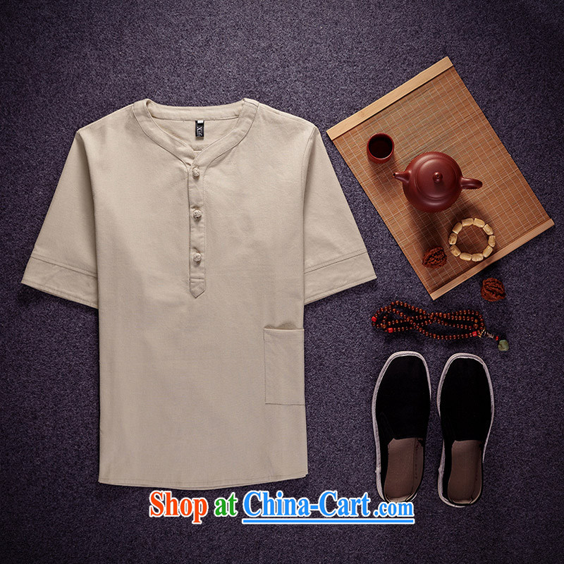 chengju summer 2015 new Chinese style Chinese men's Chinese V collar cotton Ma short-sleeved Chinese national T-shirt Chinese father with beige XXXXXL