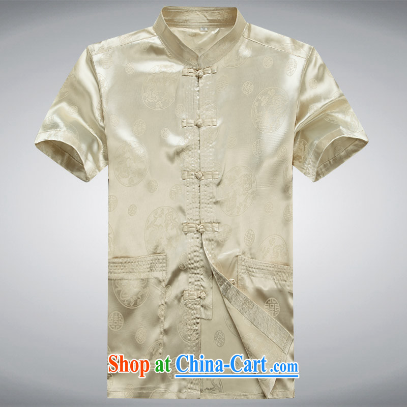 100 brigade BaiLv summer stylish thin, for comfortable short-sleeve-snap Leisure package light yellow XXXL