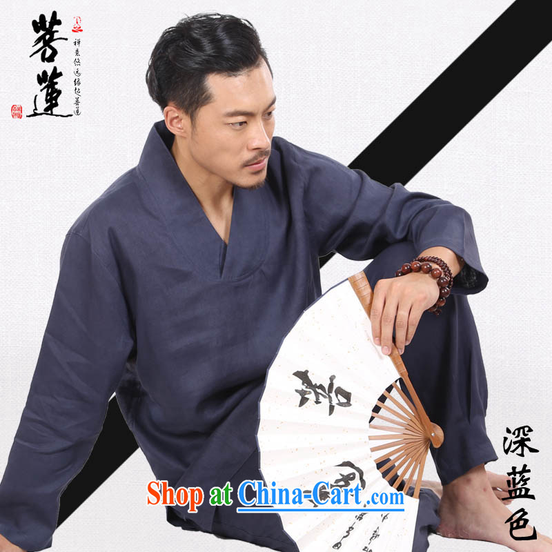 New Products Special Offers Taiwan pursued Lin linen retro V collar meditation Nepal yoga clothing/men and women, the cushion kit dark blue XL