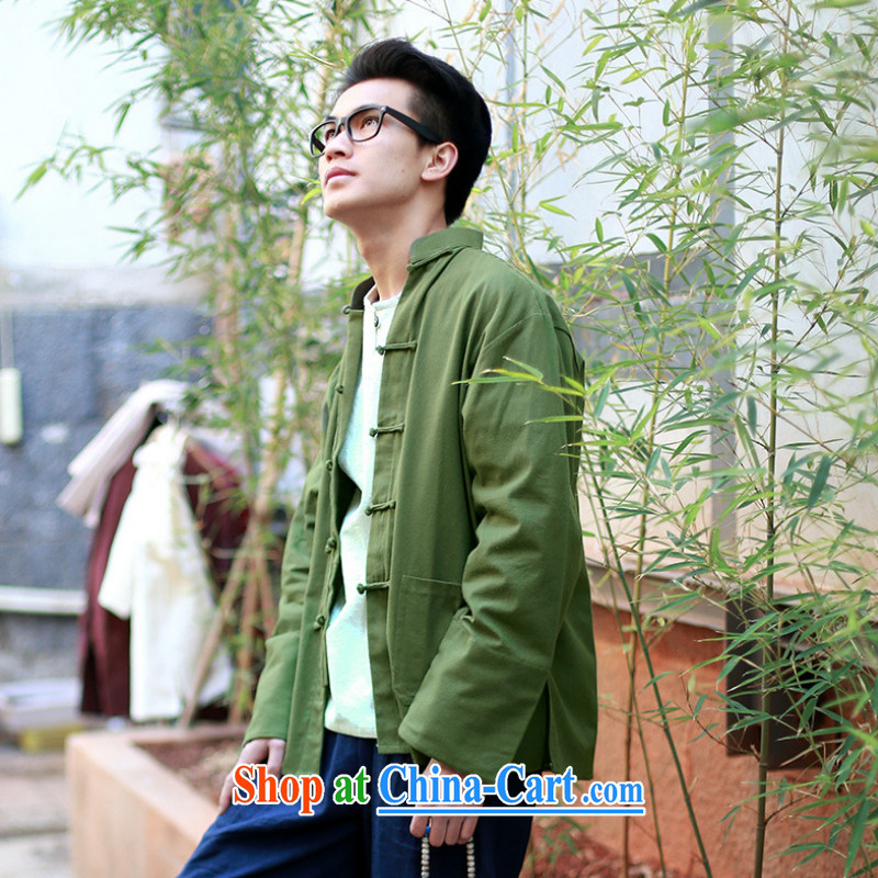 2015 new smock Tang with ethnic minority, the hard-pressed Yi-snap shirt jacket long-sleeved Chinese cotton Ma jacket YYY 1254 YZ army green L