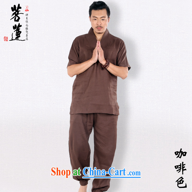 Restrictive Lin plain linen, men and women short sleeve retro V for China wind meditation Nepal meditation yoga Tai Chi uniforms brown XXL