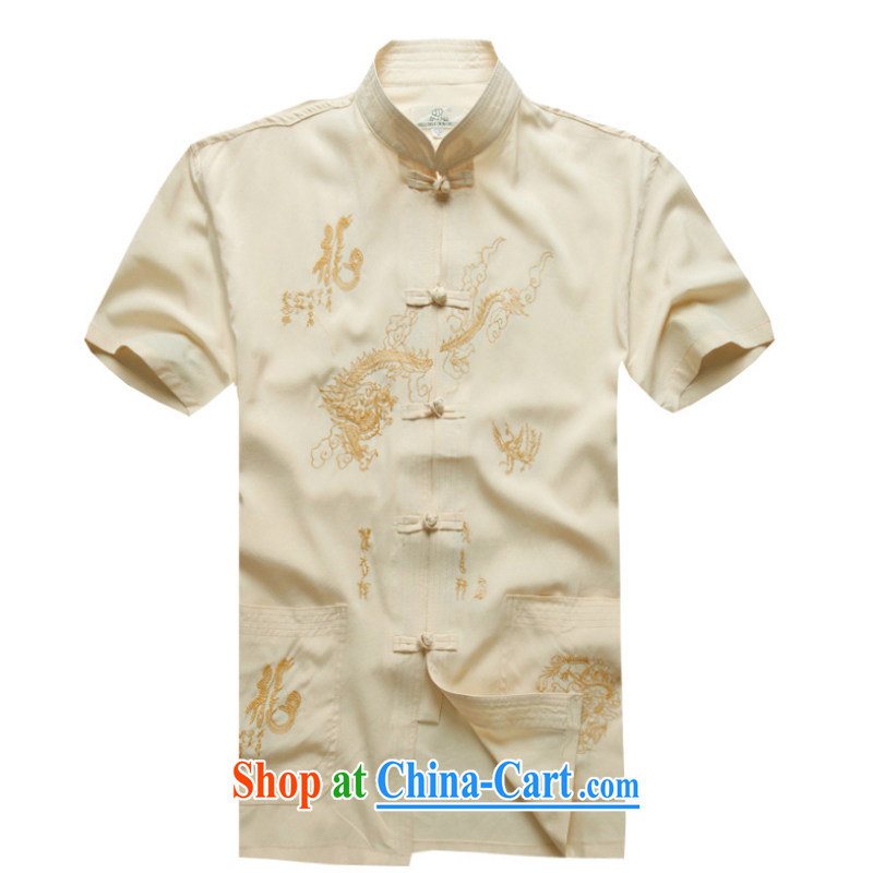 2015 new smock short summer load Older ethnic wind short sleeved T-shirt and 1255 YYY YZ Dragon white 43