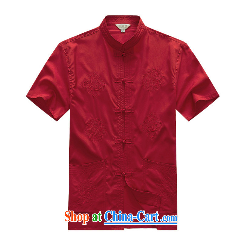 2015 new smock short summer load Older ethnic wind short sleeved T-shirt and 1256 YYY YZ well Dragon red 43