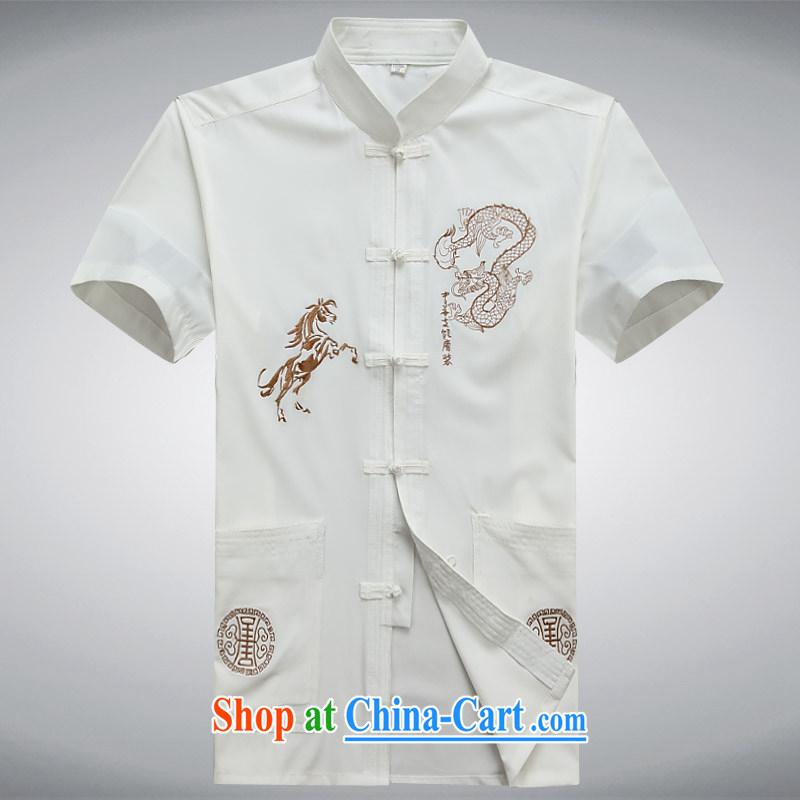 100 brigade BaiLv summer stylish thin, for comfortable short-sleeved-buckle Casual Shirt white XXXL