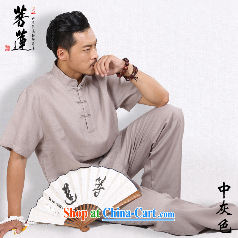 Restrictive Lin natural linen men short-sleeved autumn summer retreat, meditation Nepal China wind yoga Tai Chi uniform gray L