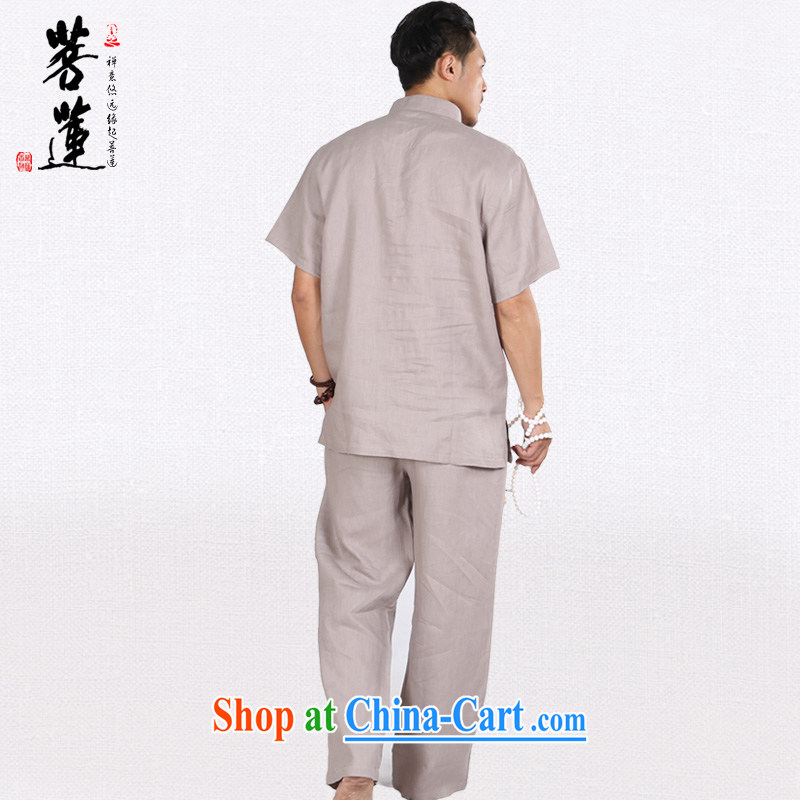 Bodhi-lin natural linen, and a short-sleeved summer fall retreat, meditation Nepal China wind yoga Tai Chi uniform gray L, pursued Lin, shopping on the Internet