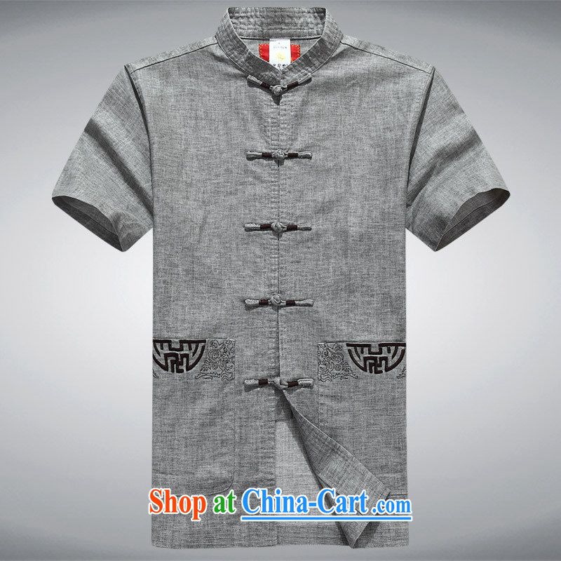 100 brigade Bailv summer stylish lapel suit comfortable cultivating short-sleeved men's shirts T gray XXXL