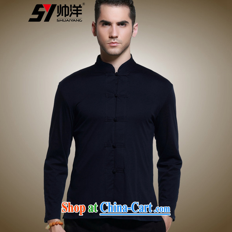 cool ocean 2015 autumn decor, men's Chinese long-sleeved shirt China wind up collar shirts cotton Chinese solid Tibetan cyan 41/175