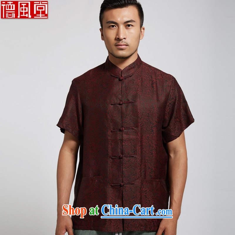 De-tong cloud summer 2015 new Hong Kong cloud yarn male Chinese short-sleeve Chinese clothing dark red XXXL