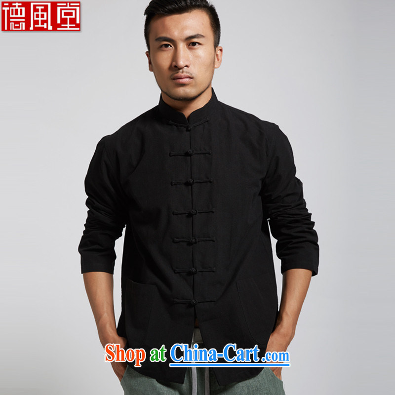 De-Tong Mass 2015 summer new cotton men's Chinese long-sleeved Chinese clothing black XXXL