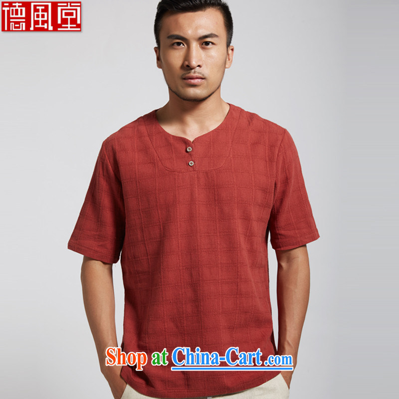 De-tong ming to summer 2015 new units the male Chinese short-sleeved leisure short-sleeved shirt Chinese clothing red XXXL