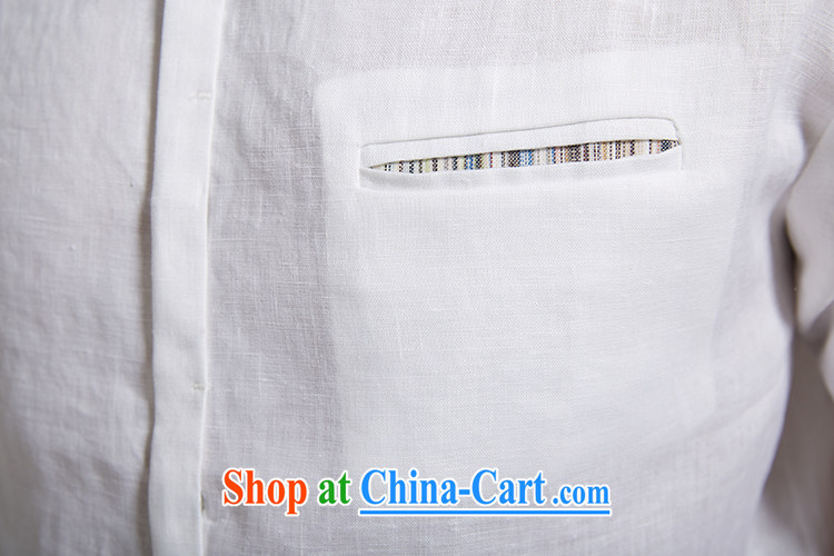 De-tong of dust 2015 summer new linen men Tang with short-sleeved leisure short-sleeved shirt youth white XXXL pictures, price, brand platters! Elections are good character, the national distribution, so why buy now enjoy more preferential! Health