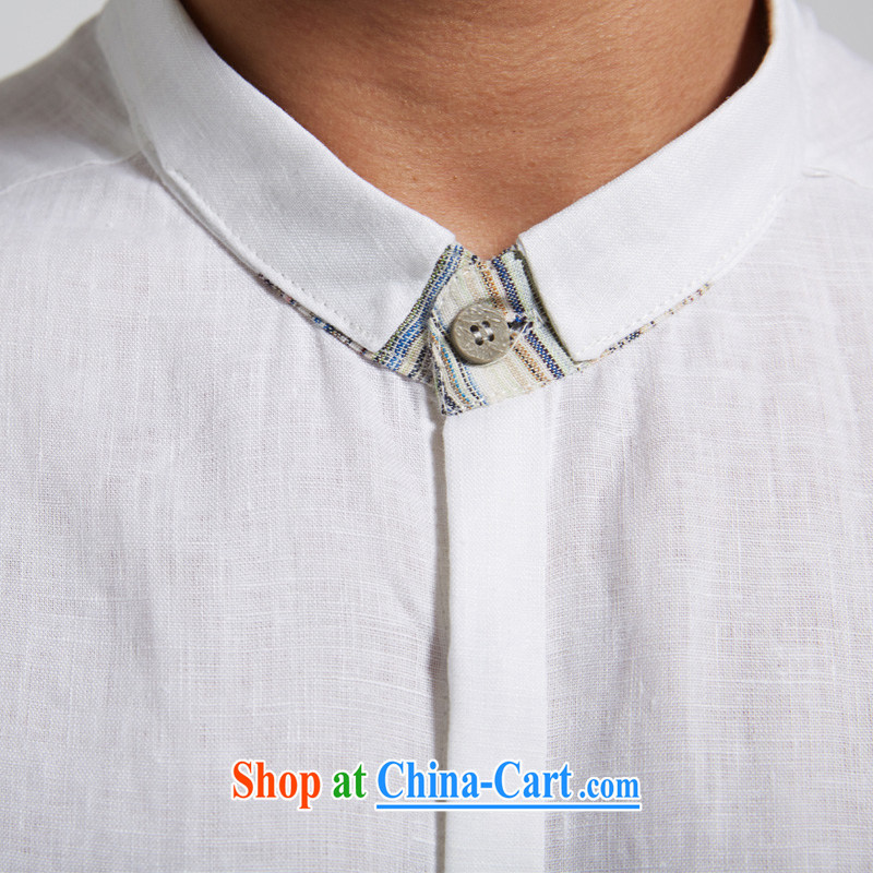 De wind hall of dust 2015 summer new linen men Tang is short-sleeved leisure short sleeved T-shirt youth white XXXL, de-tong, and shopping on the Internet