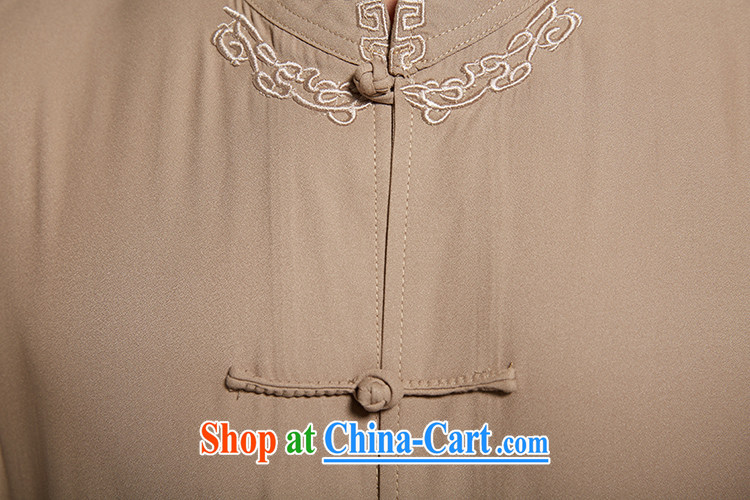 De-church was far from summer 2015 new polyester men's Chinese short-sleeved Chinese clothing is detained Chinese shirt, older men's dark coffee XXXL pictures, price, brand platters! Elections are good character, the national distribution, so why buy now enjoy more preferential! Health