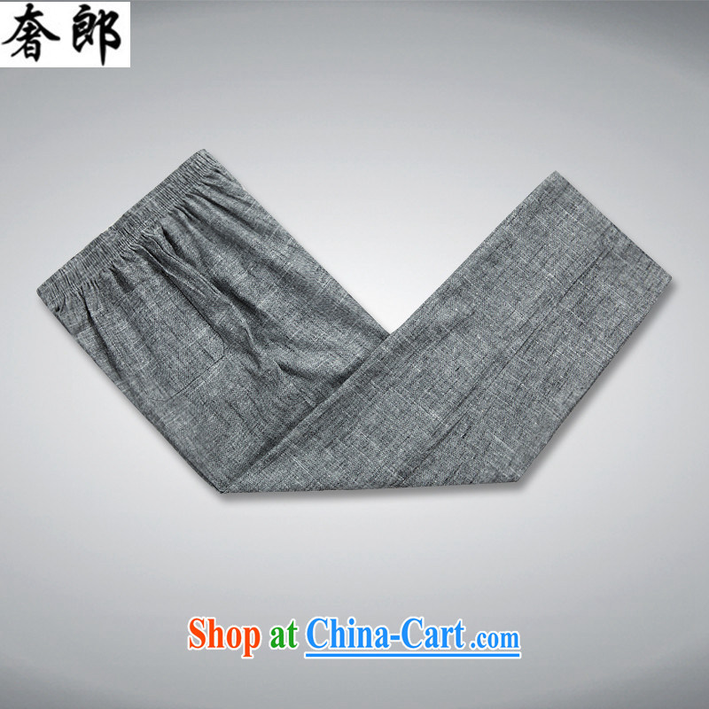 Luxury health 2015 new summer middle-aged men with short T-shirt middle-aged and older units the loose, short-sleeved short shirt with national costumes men's dark gray Kit 190/56, extravagance, and shopping on the Internet