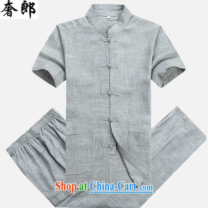 Luxury health 2015 summer Chinese Antique linen T shirts men's short-sleeved cotton the middle-aged men's T-shirt loose, for the original Tang design manual tray snap jogging Kit gray Kit 190 _ 56