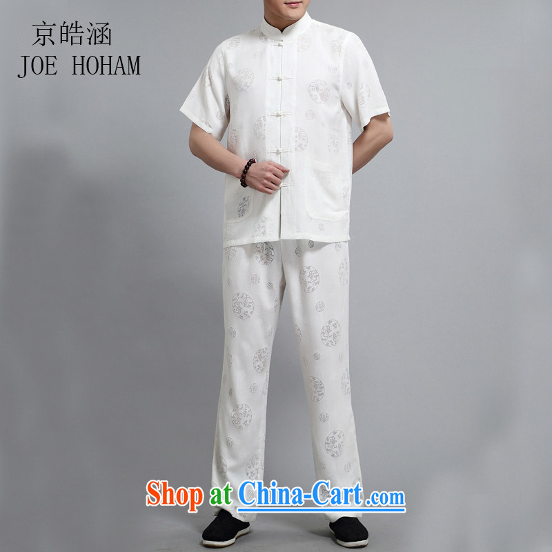 kyung-ho covers New, Old Summer men's Chinese linen shirt Kit China wind linen short-sleeve dress white 4XL