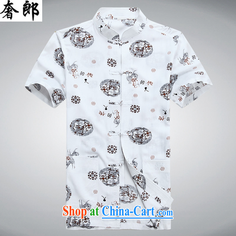 Luxury health 2015 new summer middle-aged Chinese short-sleeved T-shirt men's China wind hand-tie Han-men's middle-aged and older persons men's grandfather shirt summer white 190_56