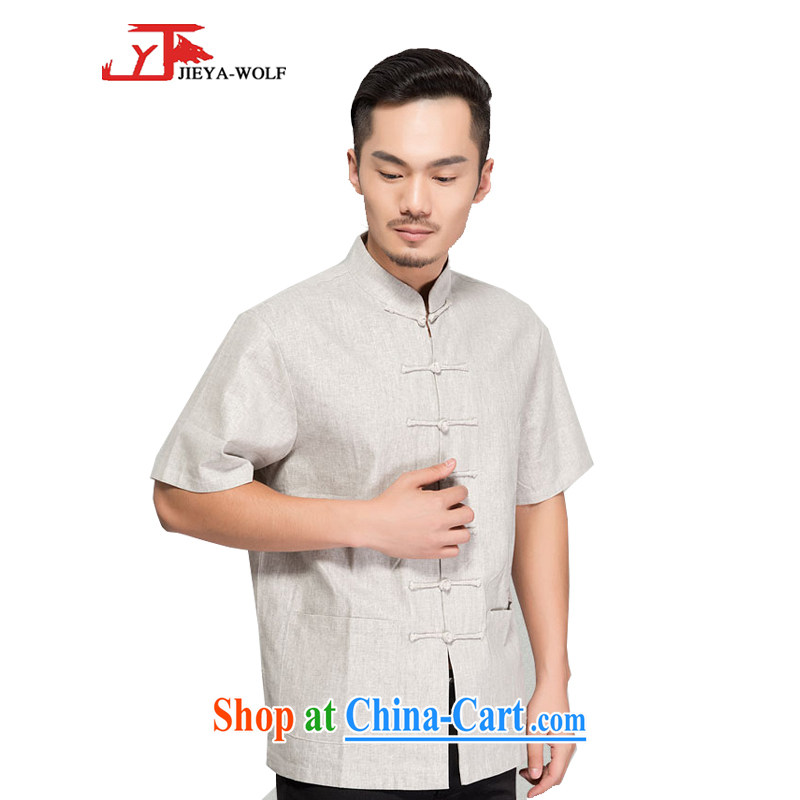 Jack And Jacob - Wolf JEYA - WOLF new Chinese men's short-sleeved advanced units the T-shirt summer thin male Chinese national leisure, handcrafted light gray 195_XXXXL