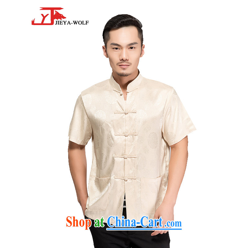 Jack And Jacob - Wolf JIEYA - WOLF Chinese men's short-sleeved T-shirt silk The Jubilee summer solid color, China wind manual tray port men with beige 195/XXXXL