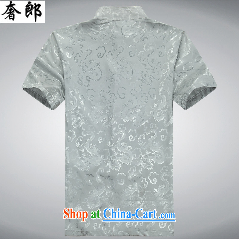 Luxury health 2015 summer new, middle-aged short-sleeved Tang replace Kit men's emulation sauna sericultural half sleeve China wind Han-Manual-buckle Tang with men's father with a gray Kit 190/56, extravagance, and shopping on the Internet