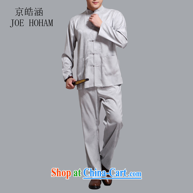 kyung-ho in older men the Snap national costumes China wind kit, for improved leisure long-sleeved Chinese summer light gray 4 XL