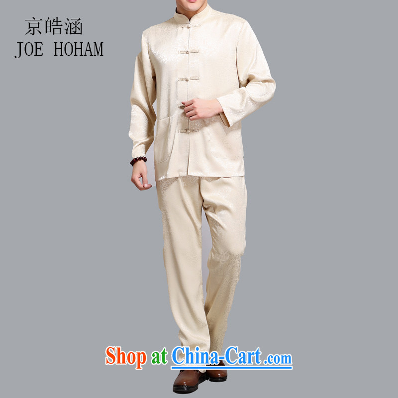 kyung-ho covering China wind summer Chinese men's cotton men's long-sleeved older persons in smock Han-tai chi kit kit Dad gold XXXL