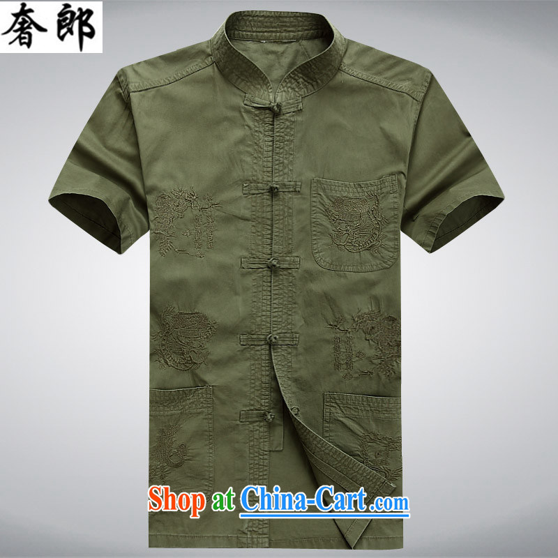 Luxury health 2015 China wind summer New Tang mounted units the commission men's short-sleeved T-shirt men and middle-aged people, served hand-tie short sleeve T-shirt with jogging clothes dark green 190/56