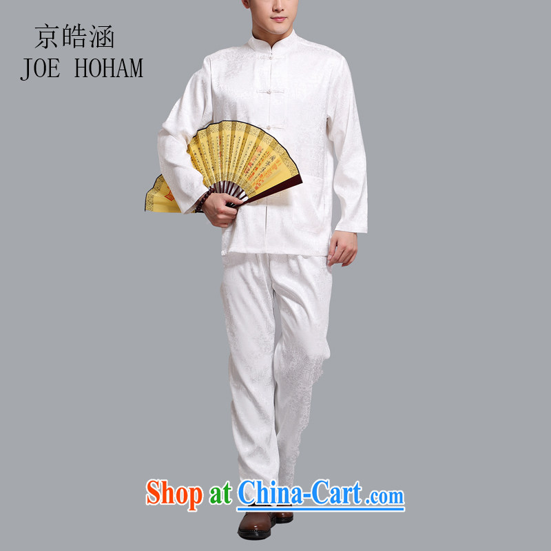 kyung-ho covering China wind summer Chinese men's cotton men's middle-aged and older persons smock Han-tai chi kit kit father white 4XL