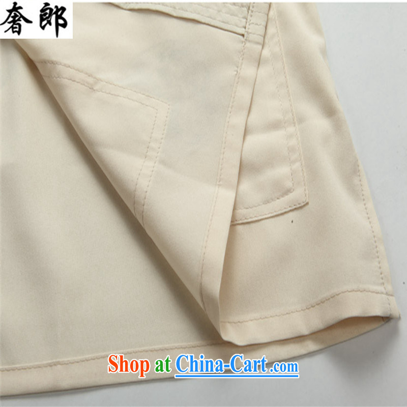 Luxury health 2015 new leisure New Men's summer middle-aged and older Chinese men's short-sleeve kit, clothing middle-aged father older persons China wind morning workout clothing beige Kit 170/48, extravagance, and shopping on the Internet