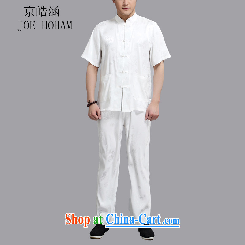 kyung-ho summer covered by new Chinese cotton men's T-shirt with short sleeves and older persons, served Chinese style men's short-sleeve kit white 4XL